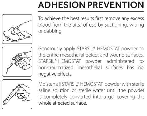 Starsil Hemostat How to use for Adhesion Prevention